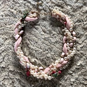 Statement Necklace W/ Pearl, Chain & Fabric